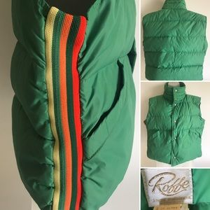 1970s Vintage Roffe Striped Down Green Ski Vest